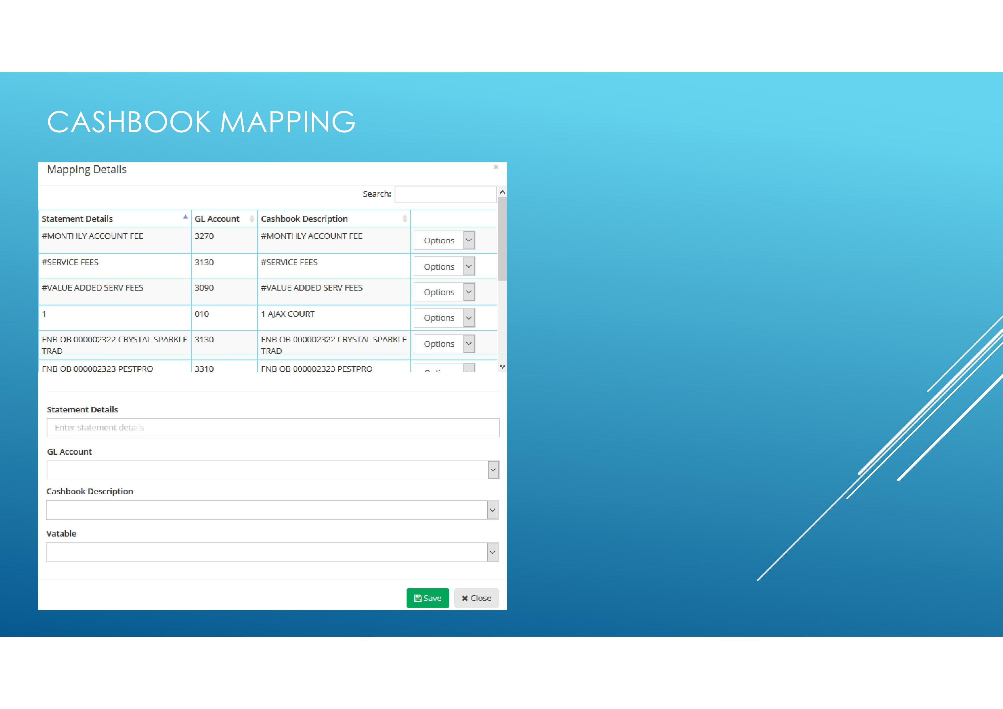 Cash Book Mapping