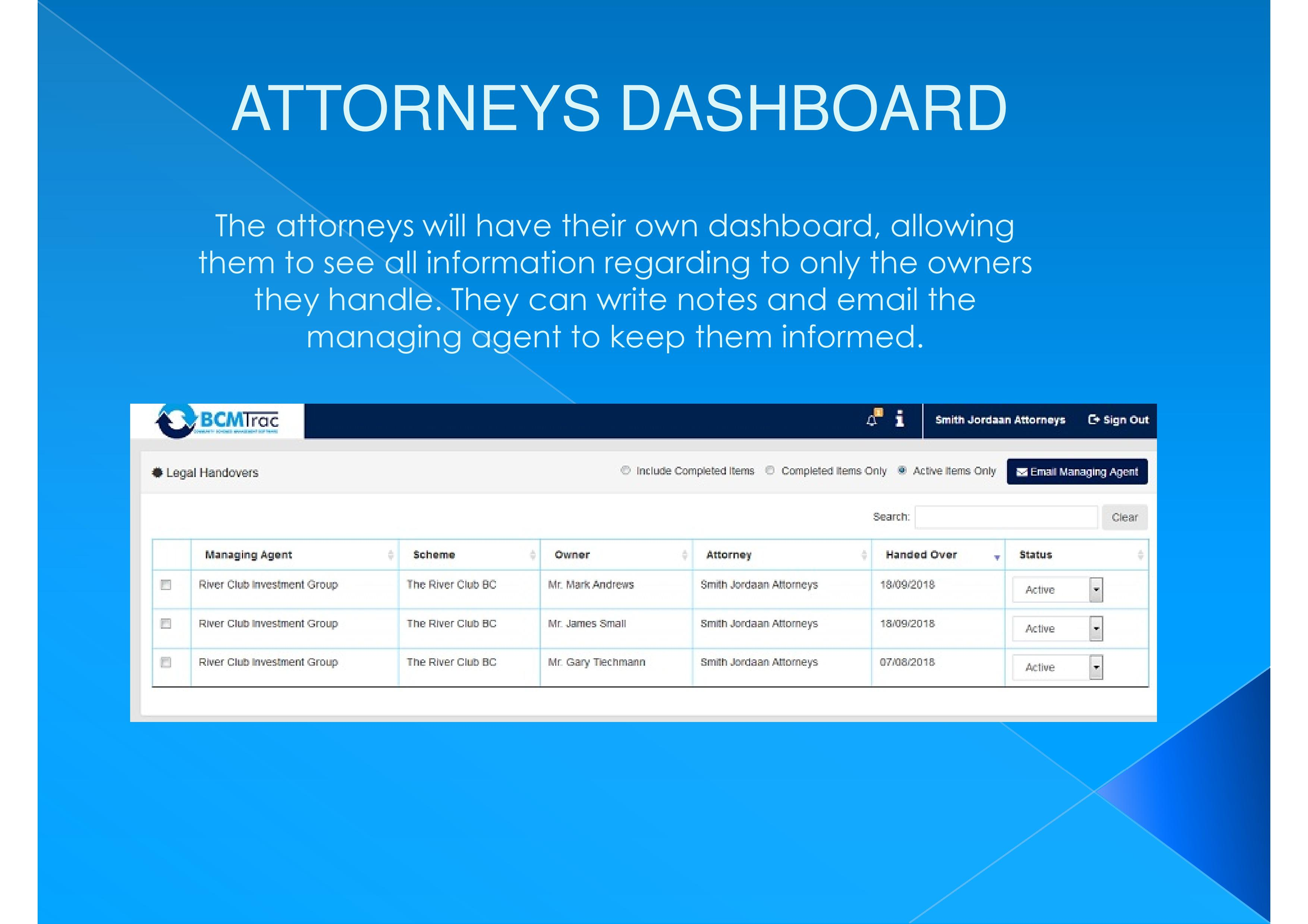 Attorneys can be given access to view and edit the information online.