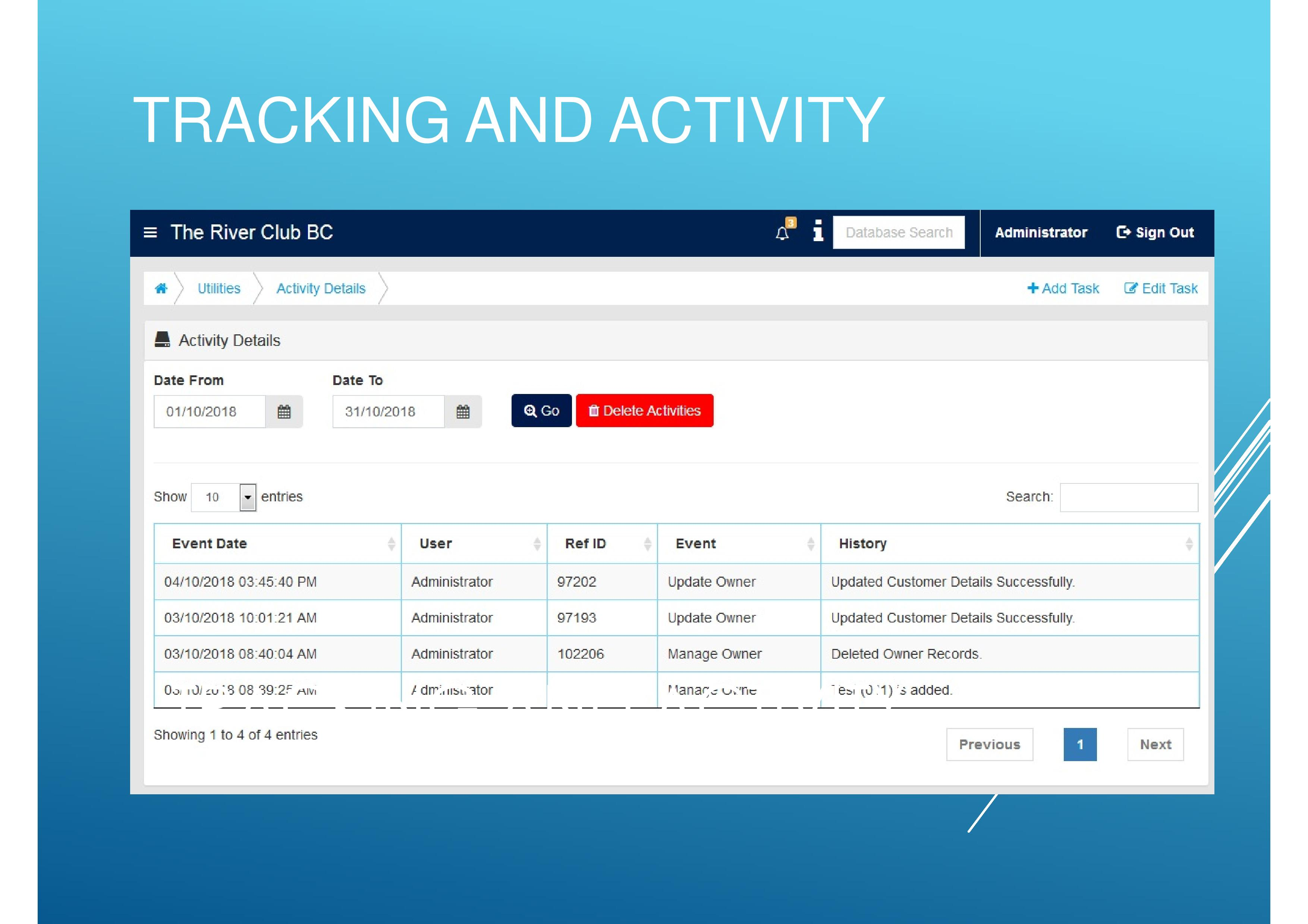 Track all activities within a specific scheme